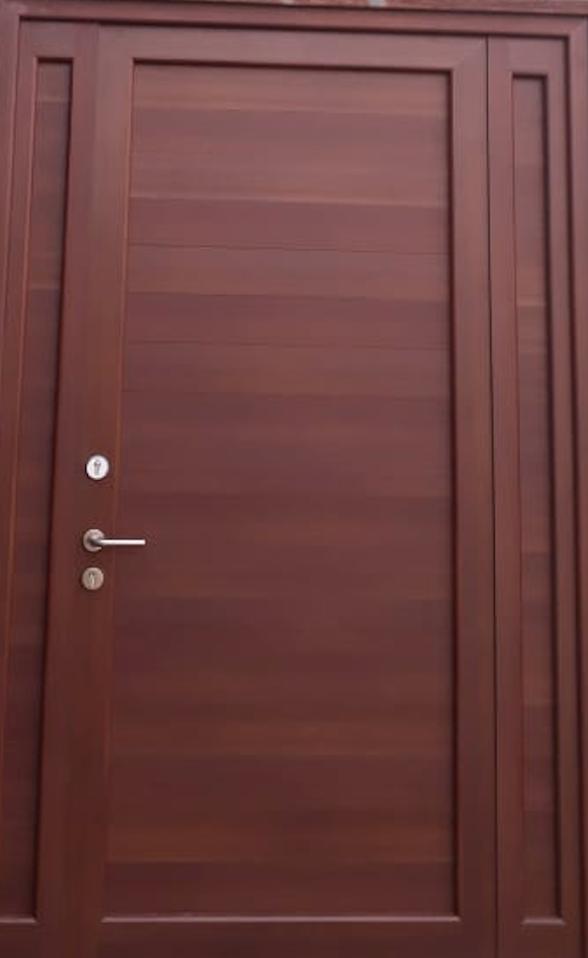 Puerta de aluminio color madera cristal templado y - Colores de puertas de madera ...